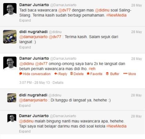 Twitteran saya dan @didinu Selasa, 28 Mei 2013